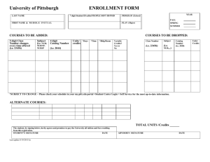 Enrollment/Add/Drop Form - School of Nursing
