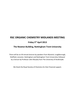 RSC ORGANIC CHEMISTRY MIDLANDS MEETING Friday 5 th April