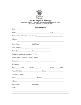 New Patient Form - Saylor Physical Therapy
