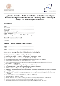 Application Form for a Postdoctoral Position in the Theoretical