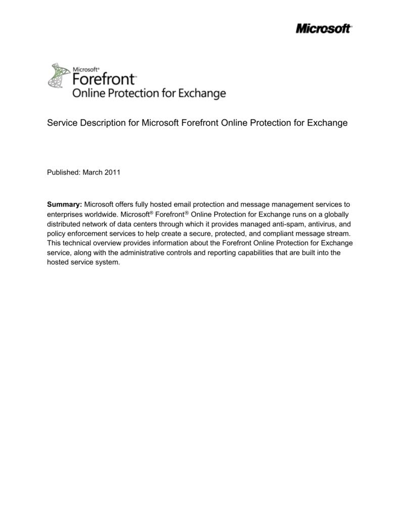 Service Description for Microsoft Forefront