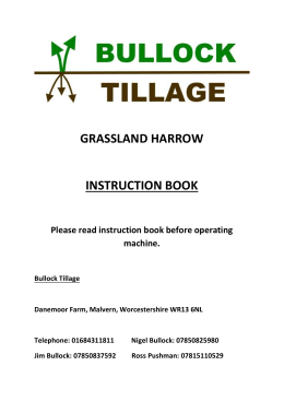 GRASSLAND HARROW instruction book