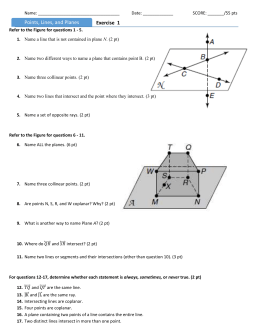 Geometry Points Lines Planes Worksheet | Objective Points Lines ...