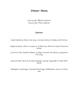 Dinner Menu - Mill House Hotel