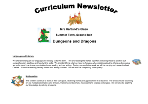 Mrs Hartland`s Class Summer Term, Second half Dungeons and
