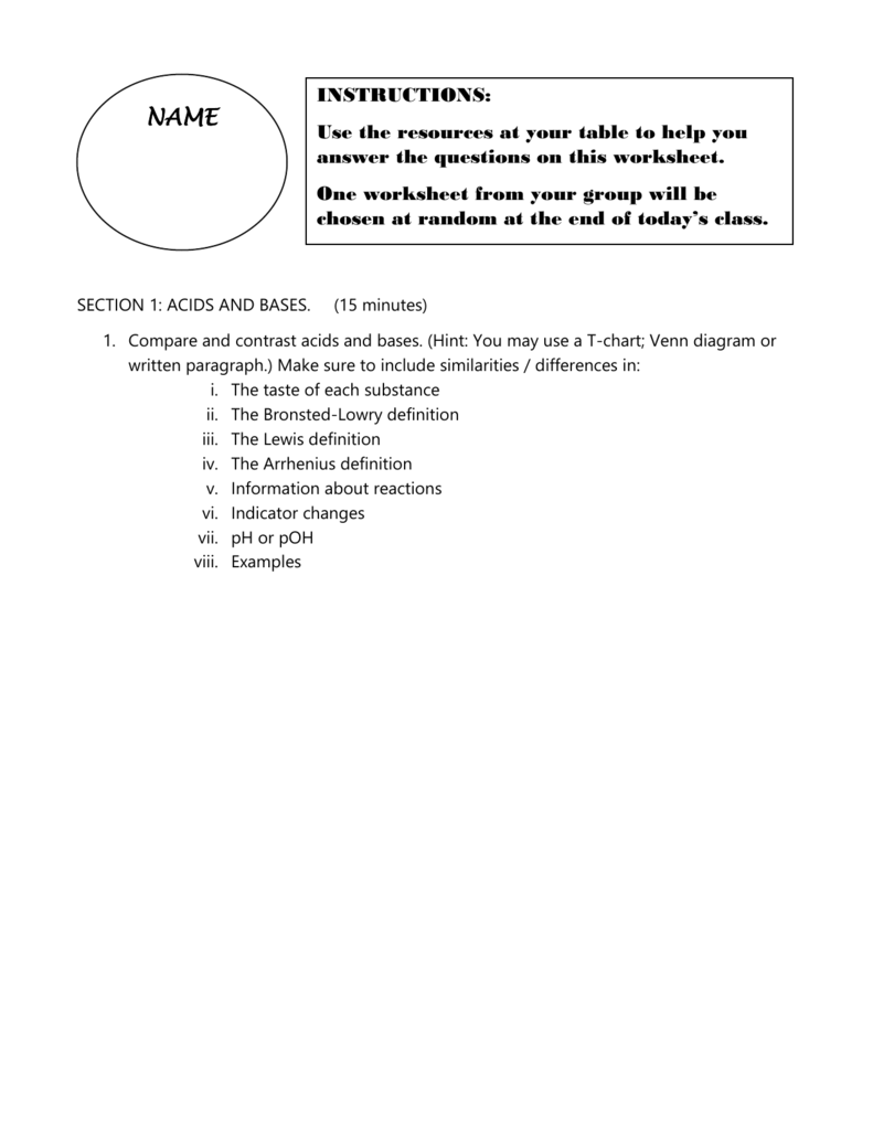 Science Differentiated Worksheets for Lesson Plan by – Bronsted-lowry Acids and Bases Worksheet
