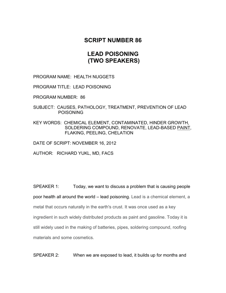 script number 86 lead poisoning (two speakers)