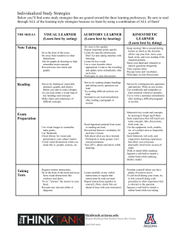 Study Strategies for Three Learning Modes
