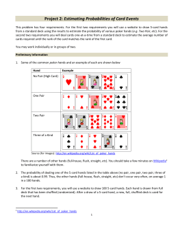 Project 2: Estimating Probabilities of Card Events