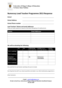 Numeracy Lead Teacher Programme 2013 Response