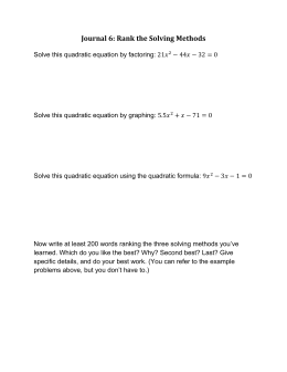 Ch. 7 Pre-test Rank Solving Methods Journal