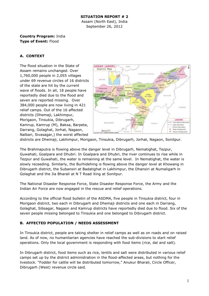 SITUATION REPORT 2 Assam North East India September 26