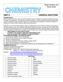 Unit 4: Chemical Reactions Binder Bulletin