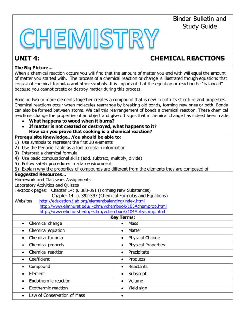 Unit 4 chemical reactions binder bulletin biocorpaavc Choice Image