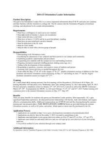 2014-15 Orientation Leader Information Position Description The