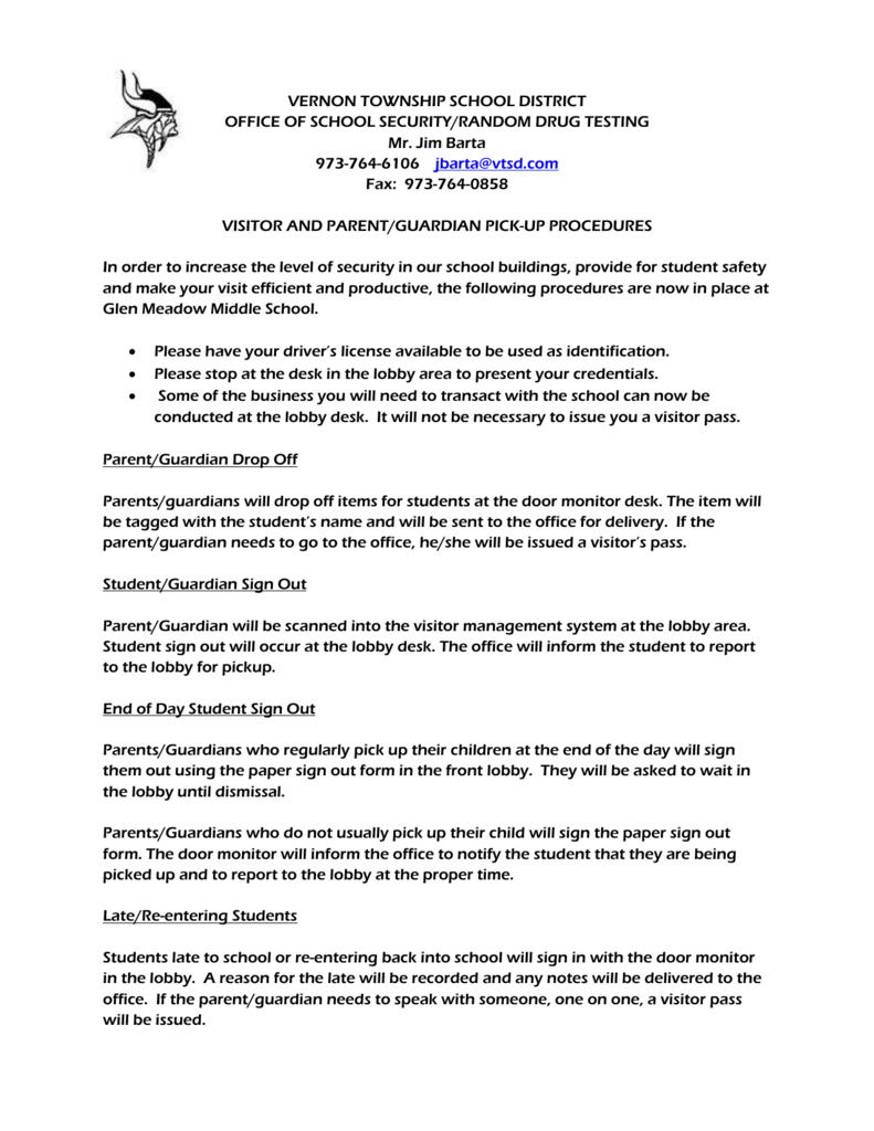 Raptor Parent Procedures Letter - Vernon Township School District