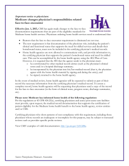 AHC Documentation of Face to Face Encounter for MEDICARE