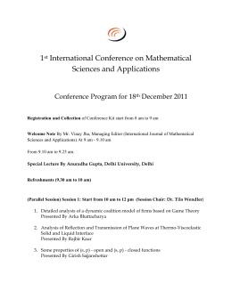 1st International Conference on Mathematical Sciences and