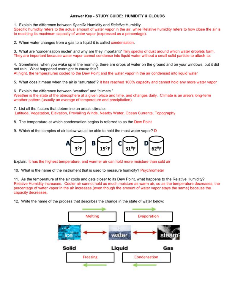 Answer Key – Relative Humidity Worksheet