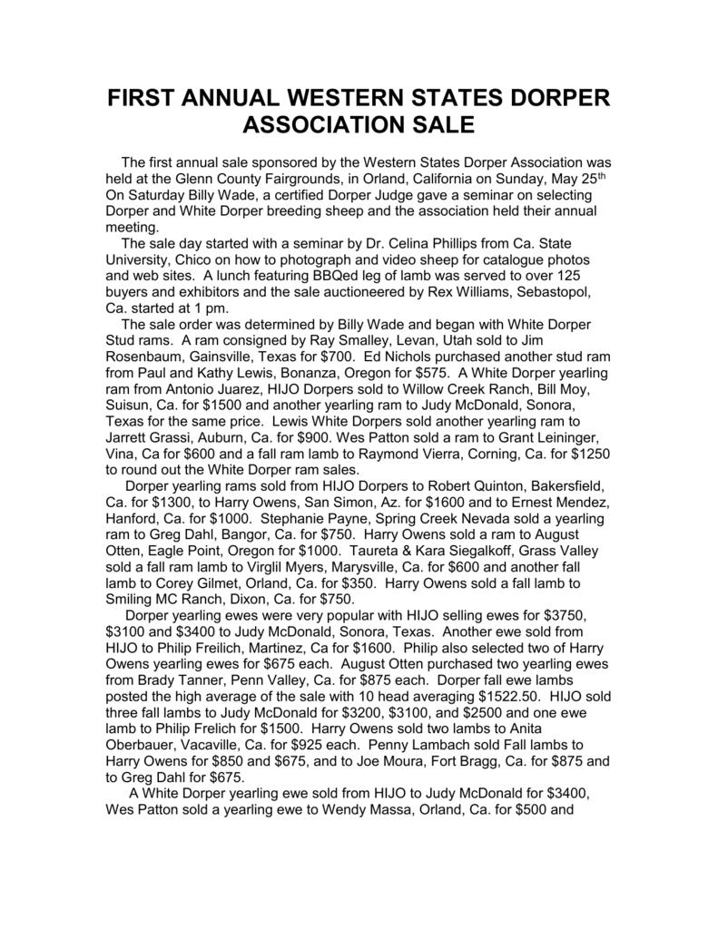 Sale Results - Western States Dorper Association