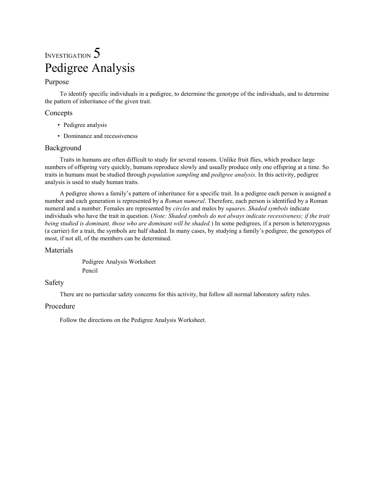 Investigation 5 Pedigree Analysis Purpose To identify specific – Pedigree Analysis Worksheet