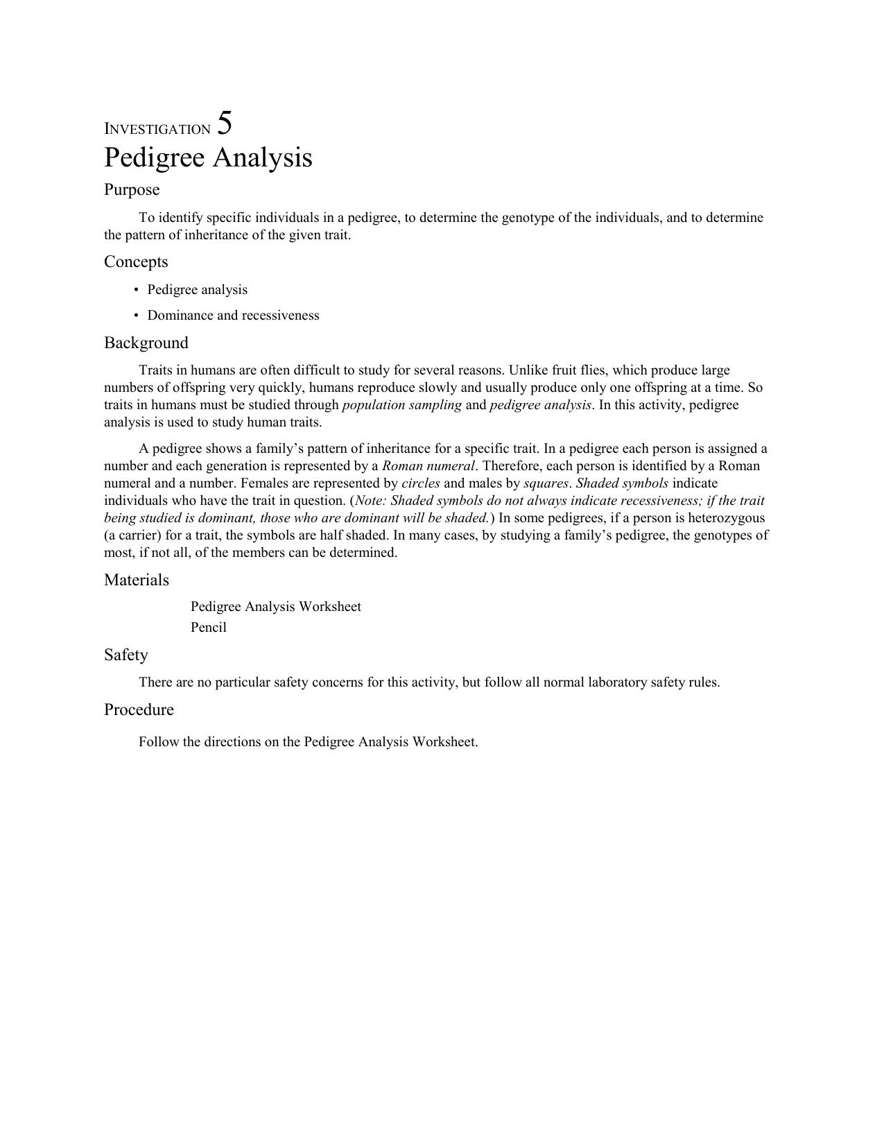 Investigation 5 Pedigree Analysis Purpose To Identify Specific