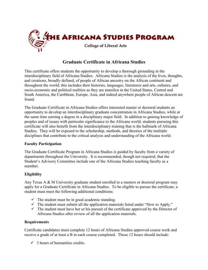 Graduate Certificate Information Texas Am University Africana
