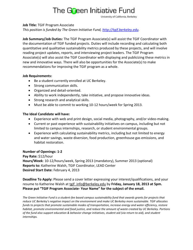 TGIF Program Associates internship program