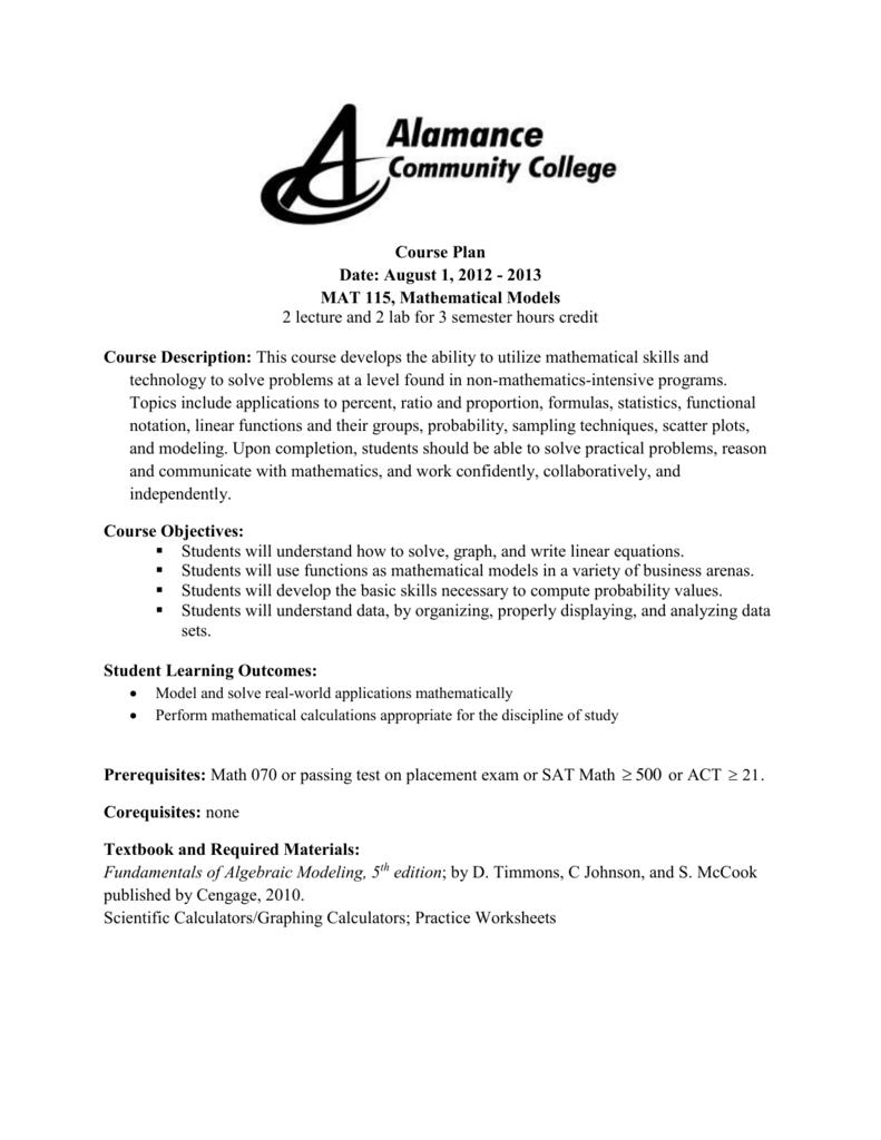 MAT 115 Course Plan - Alamance Community College
