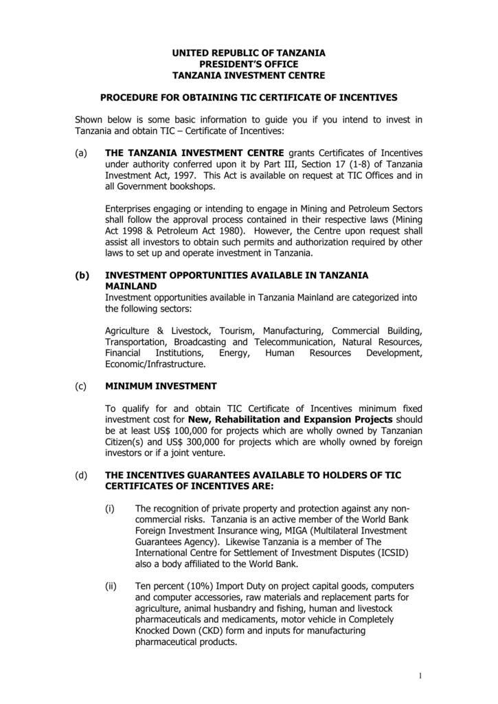 Tanzania investment centre incentives spa capex investments ltd