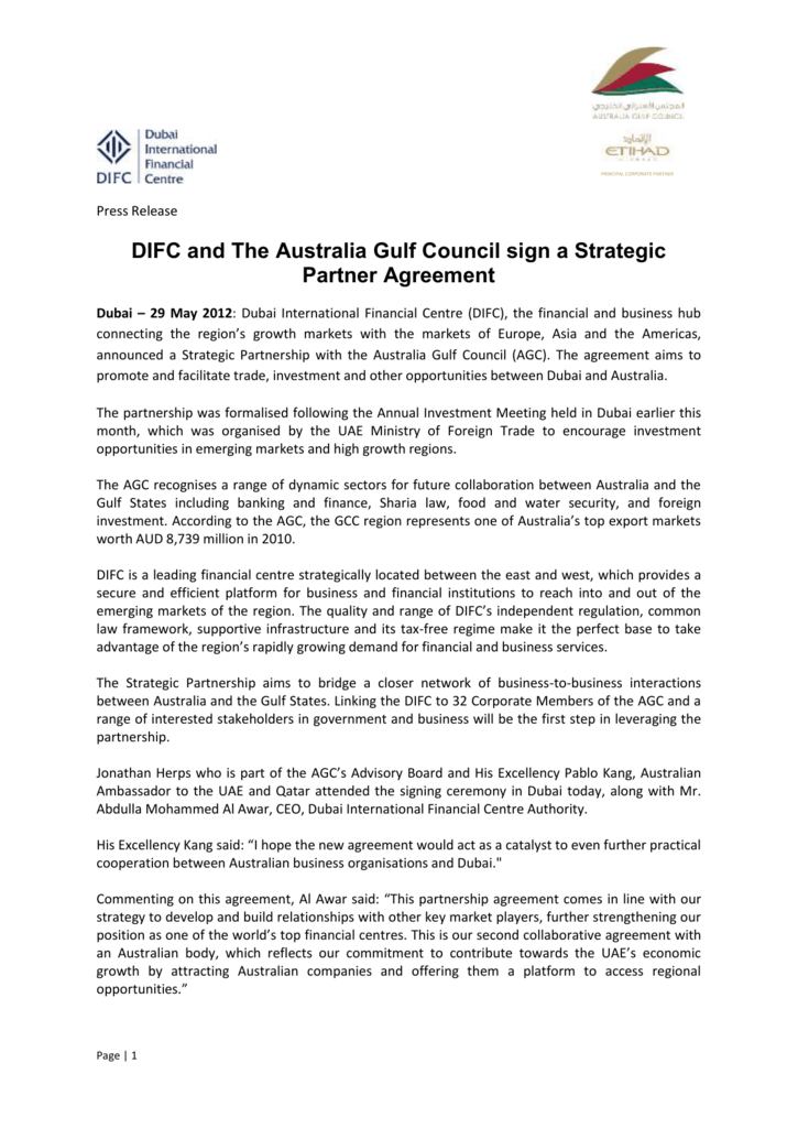 Press Release Dubai International Financial Centre