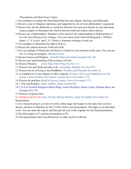 Presentation and Short Essay Topics