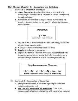 Holt Physics Chapter 6: Momentum and Collisions