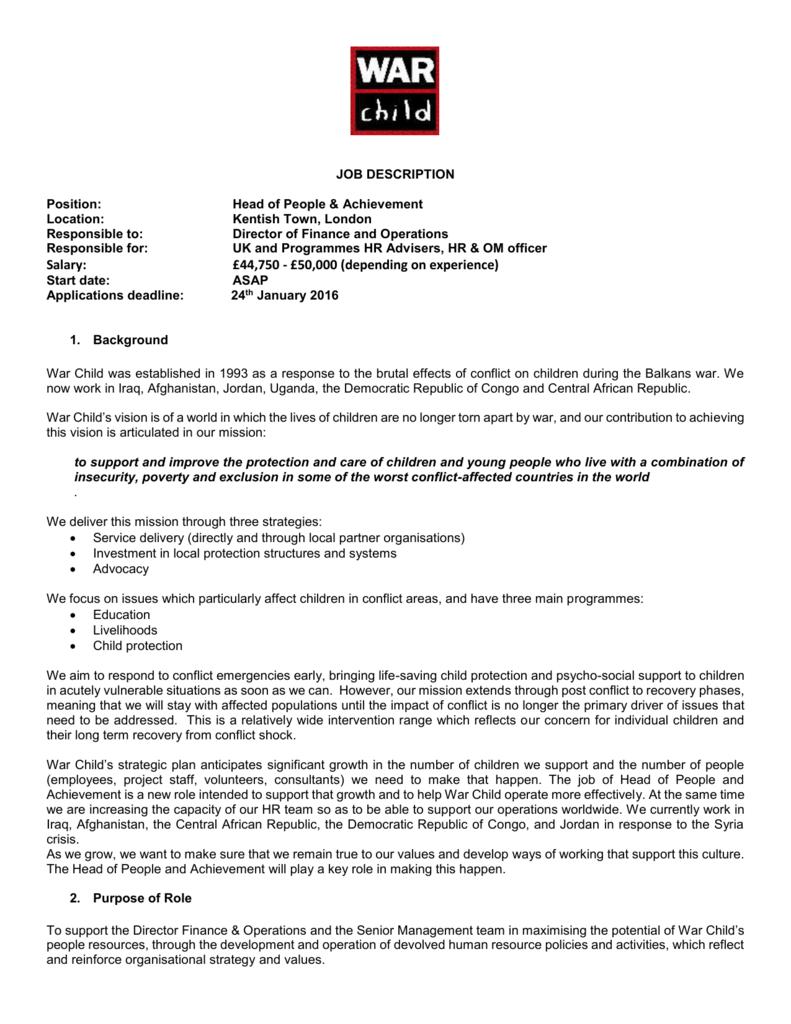 Head of People and Achievement Job Description