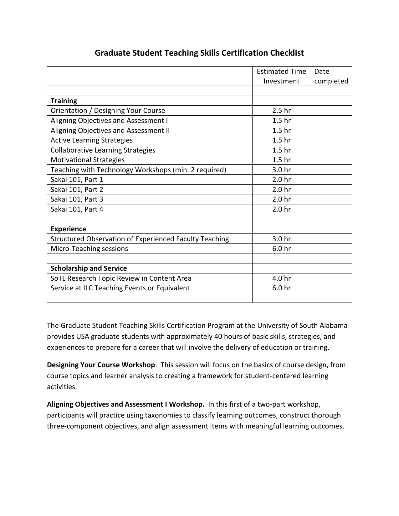 Graduate Student Teaching Skills Certification Checklist