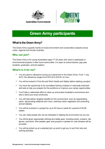 Green Army participants fact sheet