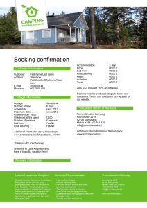Booking confirmation - Tommolansalmi Camping
