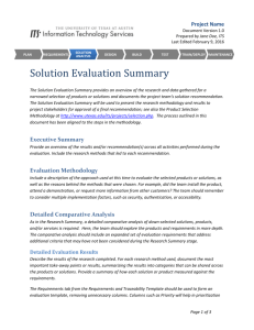 Solution Evaluation Summary