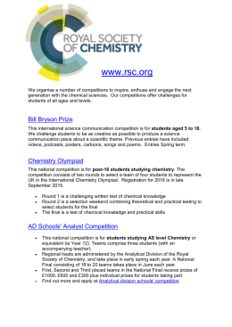 Royal Society of Chemistry Competitions - 5 yrs