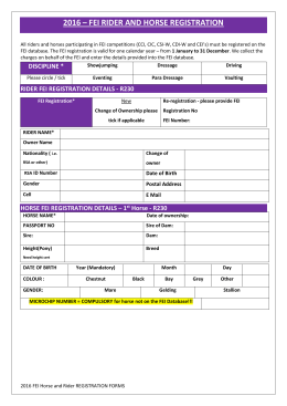FEI Horse and Rider Registration Form