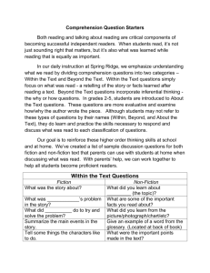 Reading Comprehension Question Starters