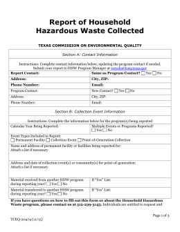 Report of Household Hazardous Waste Collected