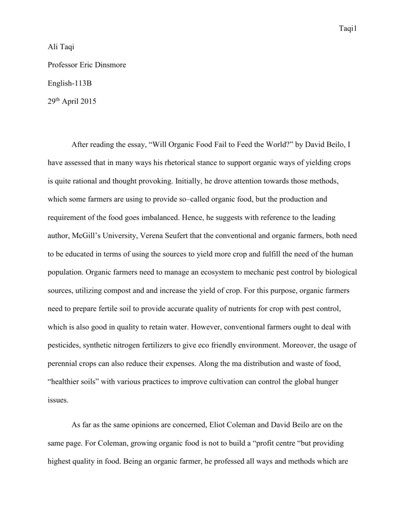 Argumentive essays on organic food is healthier quantitative thesis chapter 3