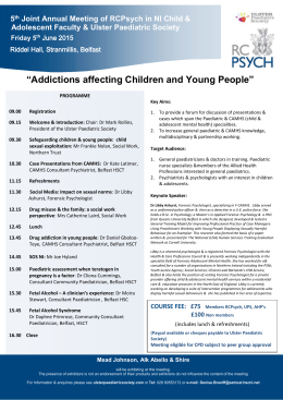 5 th Joint Annual Meeting of RCPsych in NI Child & Adolescent