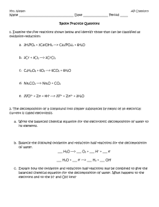 Redox Practice Questions