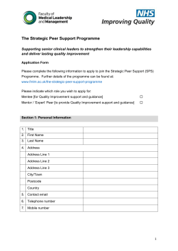 The Strategic Peer Support Programme