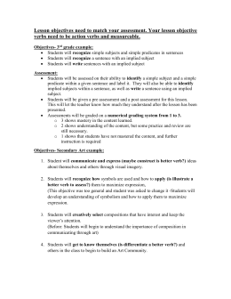 Lesson Objectives and Assessment