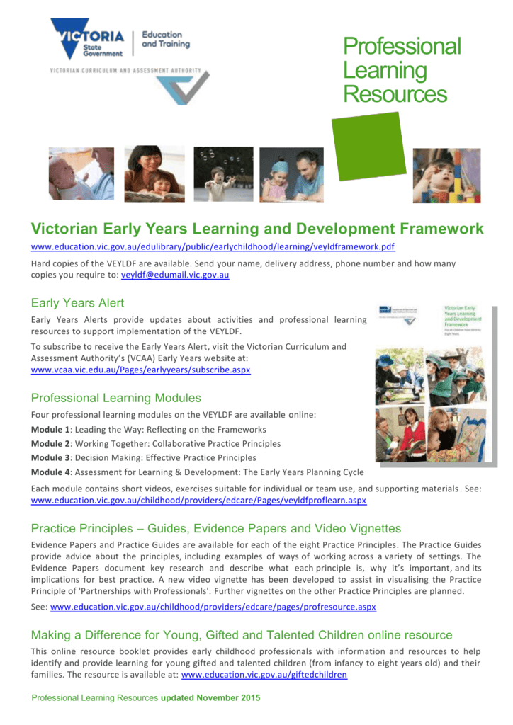Veyldf Resources Department Of Education And Early Childhood