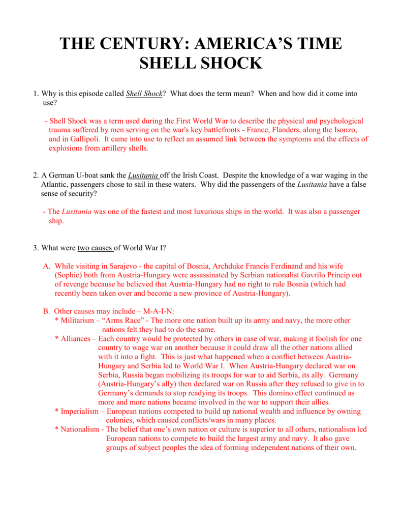 Shell Shock Video Questions Key