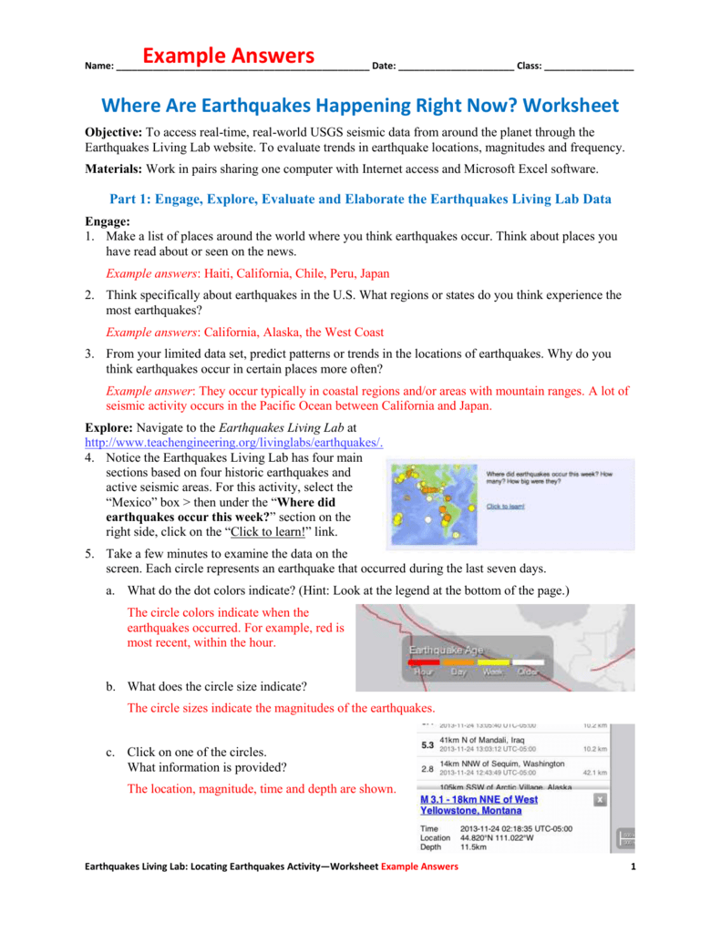 Where Are Earthquakes Happening Right Now? Worksheet